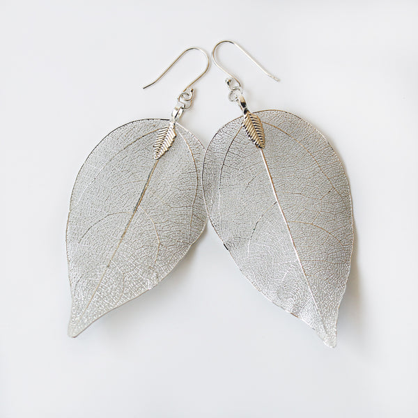 silver dipped leaf earrings