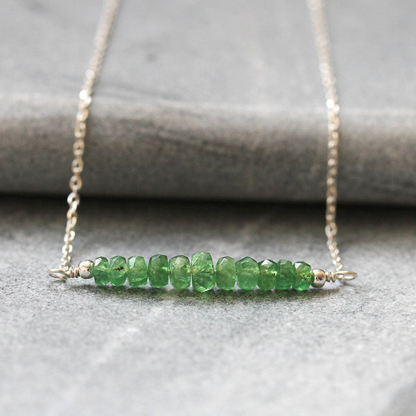 Silver Green Garnet Necklace