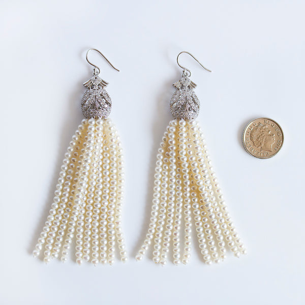 silver pearl tassels earrings