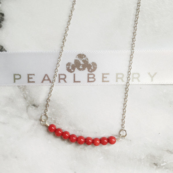 Simple Red Coral Necklace
