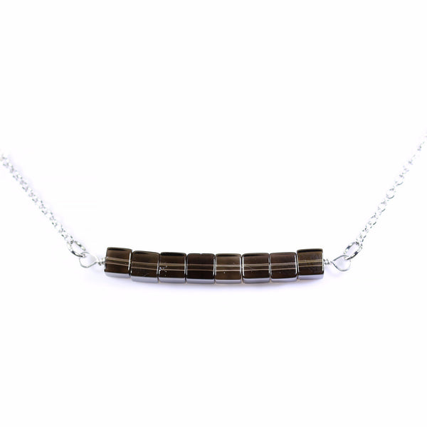 Smokey Quartz Bar Silver Necklace