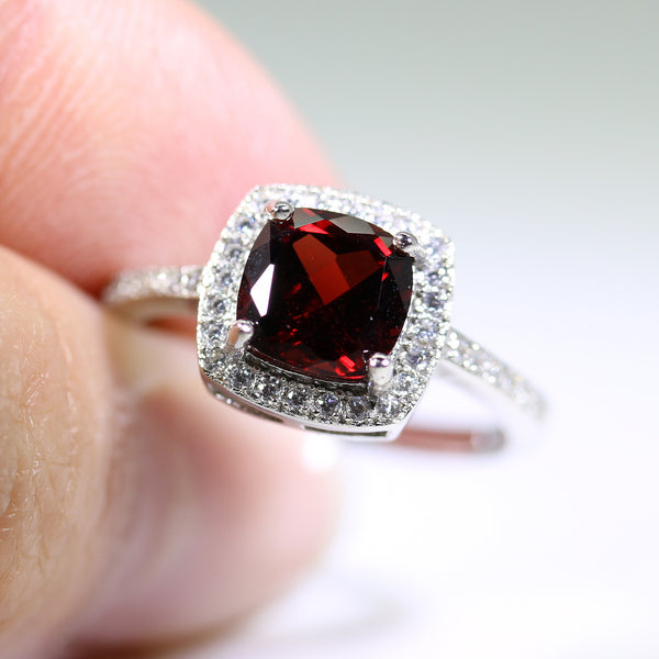 Sterling Silver Halo Ring with Garnet