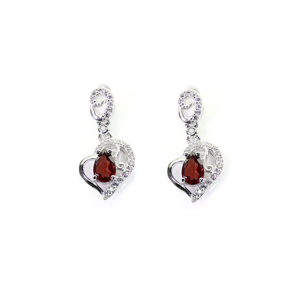 Sterling Silver Heart Earrings Garnet