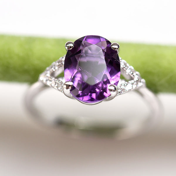 Stunning Amethyst Double Shank Ring