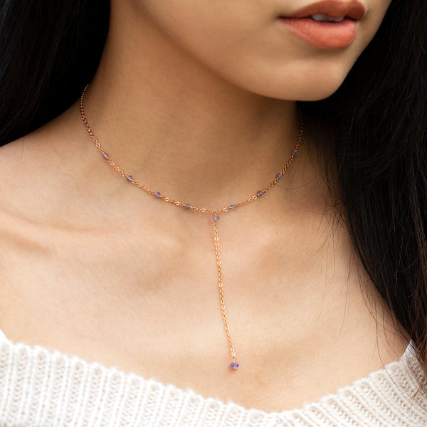 tanzanite necklace rose gold