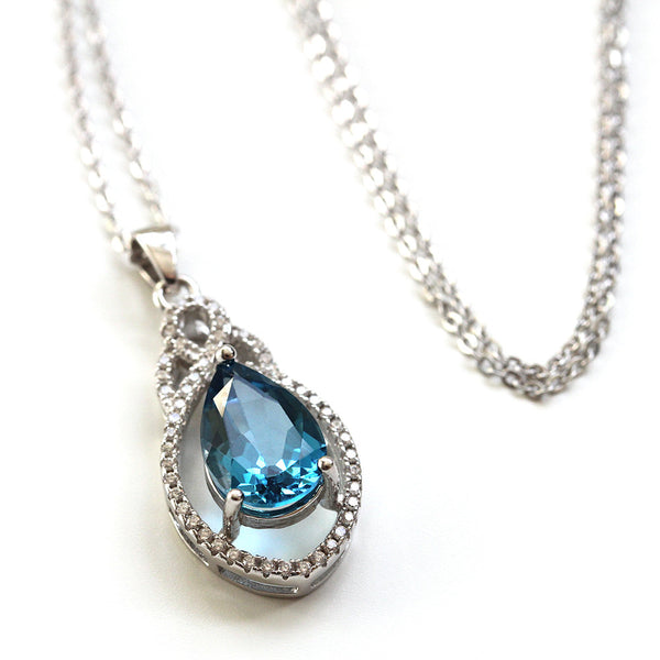Teardrop Blue Topaz Necklace