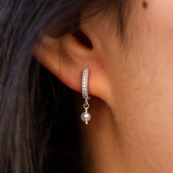 tiny diamond pearl earrings hoops