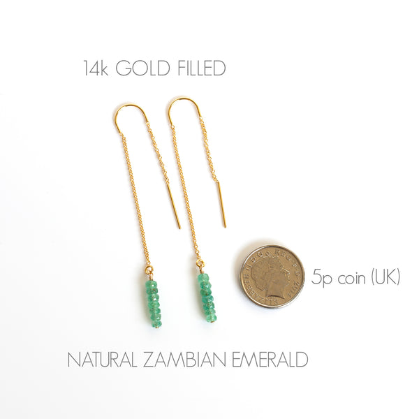 tiny emerald bar threaders 14k gold filled DETAILS