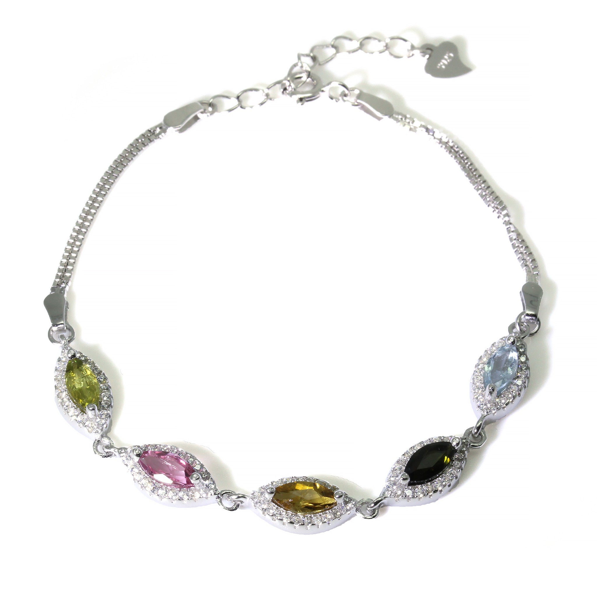 """7.8/"""" Sterling Silver Bracelet with 4 Multi-Colored Marquise-Shape Tourmaline Gemstones"""