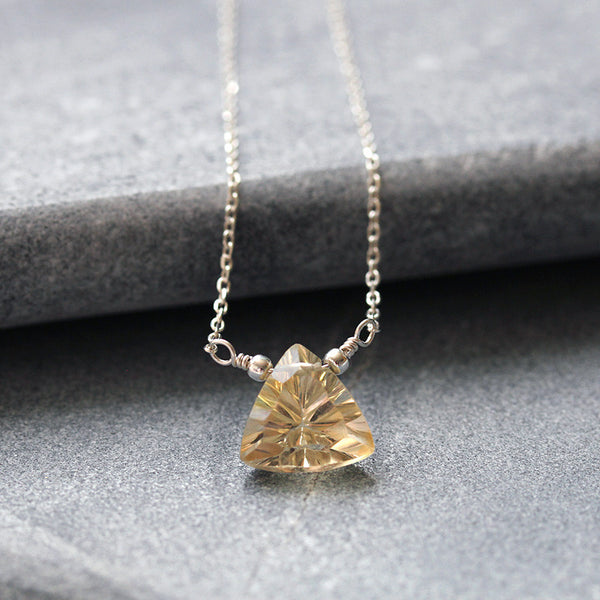Triangle Citrine Necklace Silver
