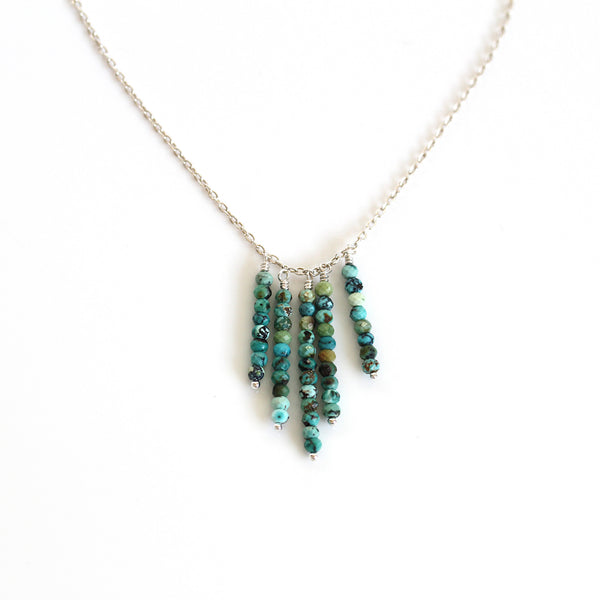 turquoise tassel necklace silver