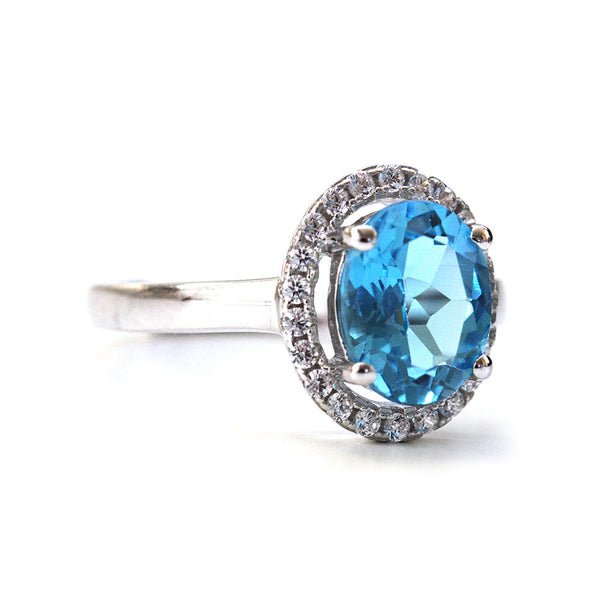 Vintage Inspired Topaz Halo Ring
