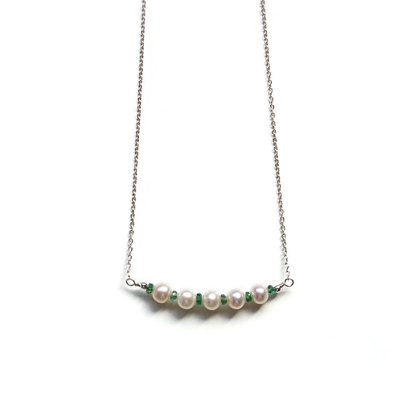 White Pearl and Green Emerald Necklace