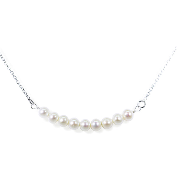 White Pearl Bar Necklace in Silver