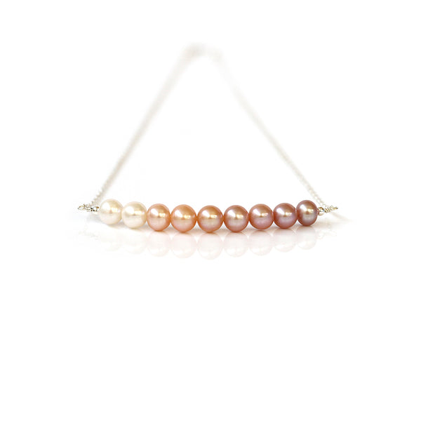 white pink peach lilac pearl necklace