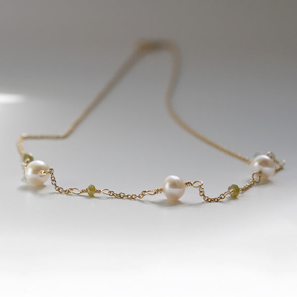 Wire Wrapped Diamond Pearl Necklace