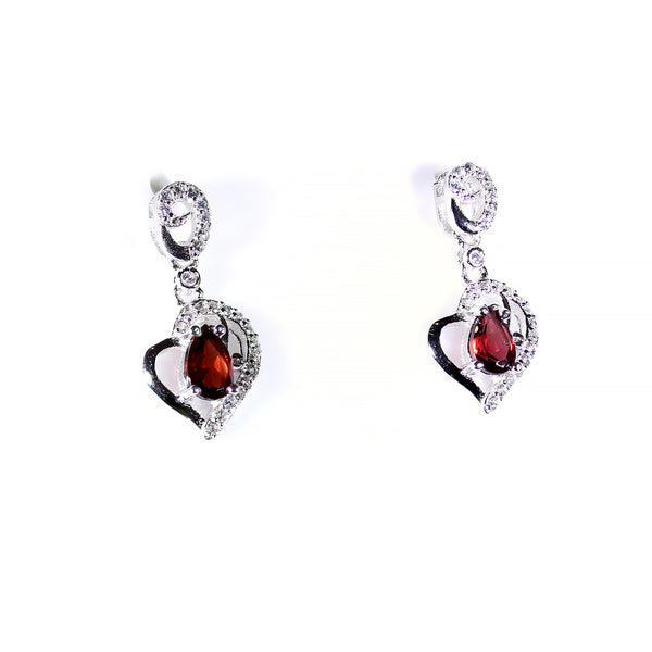 Sterling Silver Heart Diamond Earrings Garnet