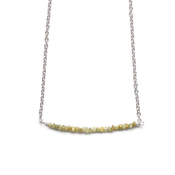 Yellow Diamond Necklace, Silver