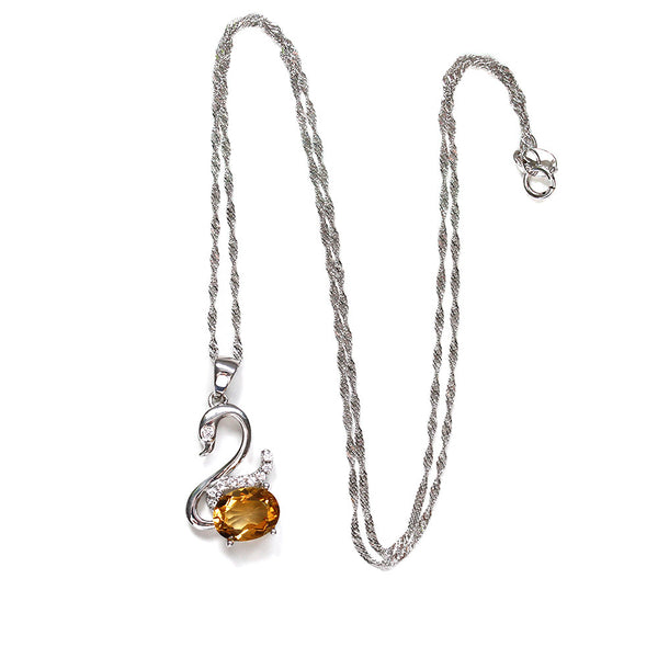 Yellow Quartz Necklace Silver