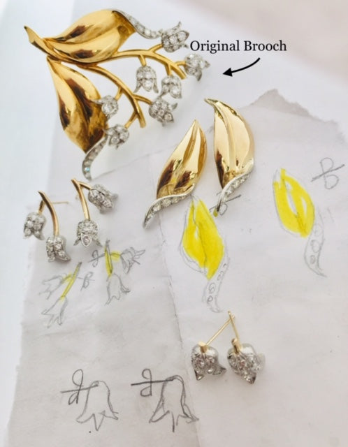 Antique Gold Diamond Brooch Transformed into Earrings by Rubini Jewelers
