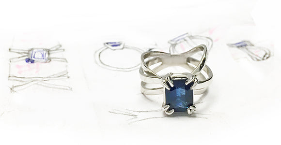 Layered Bands Platinum Sapphire Ring Handmade by Rubini Jewelers
