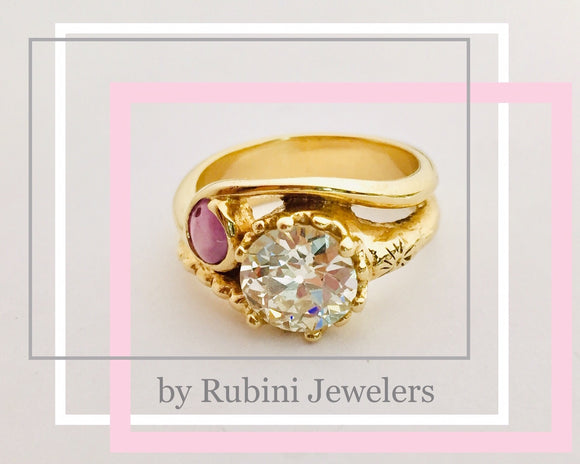 European cut diamond and star ruby yellow gold magical two stone engagement ring by Rubini Jewelers