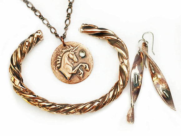 Copper Twist Cuff Bracelet, Copper Silver Twist Earrings, Copper Disc with Unicorn  Necklace, at Rubini Jewelers