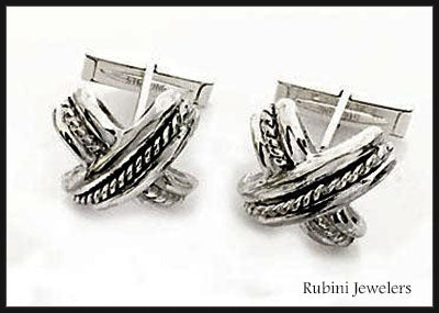 Silver Love Knot X Cuff Links at Rubini Jewelers