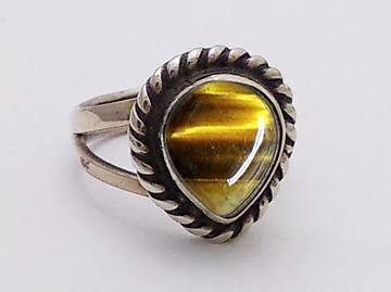 Sterling Silver Tiger Eye in Twist Frame Bezel Ring at Rubini Jewelers