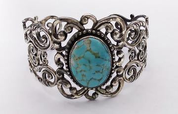 Silver filigree turquoise cuff bracelet at Rubini Jewelers