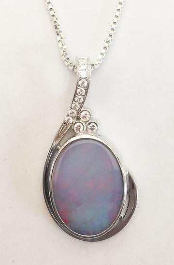 Opal and Diamonds Sterling Silver Pendant at Rubini Jewelers
