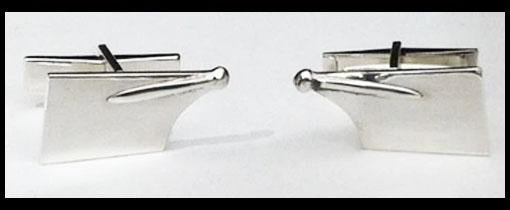 Medium Rowing Hatchet Blade Cuff Links Sterling Silver by Rubini Jewelers