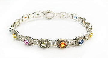 White Gold Colored Sapphires and Diamonds Bracelet at Rubini Jewelers