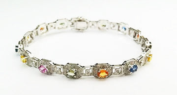 14kt White Gold Colored Sapphires and Diamonds Bracelet at Rubini Jewelers