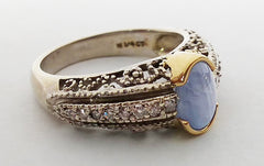 Star Sapphire and Melee Diamonds Antique Reproduction Ring in 14kt Two Tone Gold at Rubini Jewelers