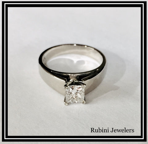White Gold Princess Cut Diamond Engagement Ring after Cleaning and Polishing at Rubini Jewelers