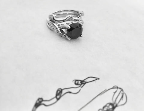 Black Diamond Engagement Ring by Rubini Jewelers