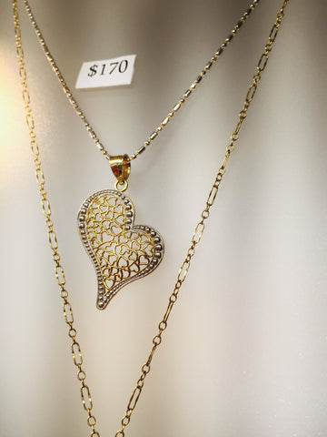 14kt Gold Heart Pendant on Chain at Rubini Jewelers