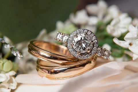 Diamond Engagement Ring and Wedding Bands by Rubini Jewelers