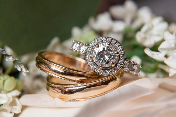 Custom Family Diamonds Engagement Ring and wedding bands by Rubini Jewelers
