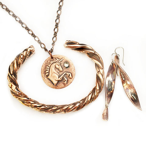 Copper Bracelet, Copper Disc with Unicorn Necklace, Copper and Silver Twist Earrings at Rubini Jewelers