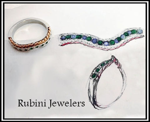 Curved Rose Gold and Platinum Band with Emeralds, custom made by Rubini Jewelers