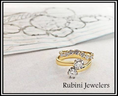 Custom Bypass Two Stone Engagement Ring and Contour Wedding Band, by Rubini Jewelers