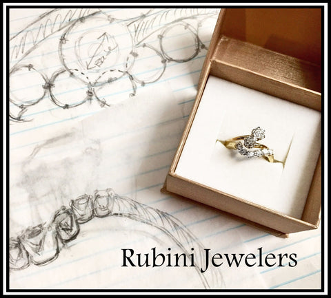 Custom 14kt gold contour wedding band to nest with antique 2 stone engagement ring, by Rubini Jewelers