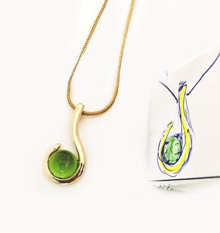 Custom 14kt Yellow Gold Cabochon Peridot Pendant for necklace, by Rubini Jewelers. Handmade setting.