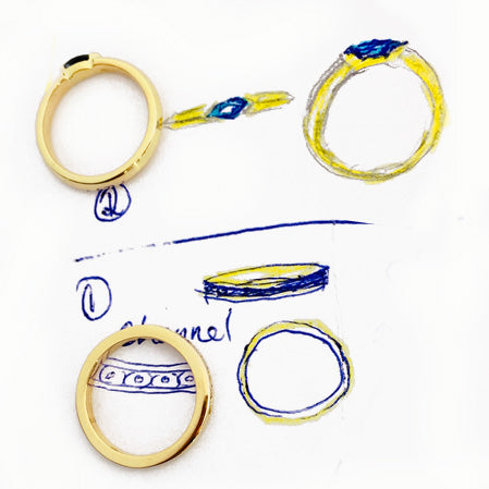 Custom Rings made by Rubini Jewelers, reusing parts of customer's old rings and stones