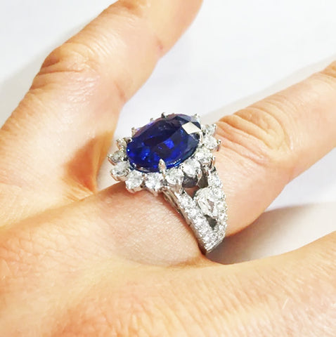 Sapphire and Diamonds Platinum Custom Engagement Ring by Rubini Jewelers