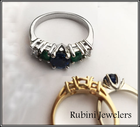 Reset engagement and wedding rings into 1custom handmade ring, with sapphire upgrade, by Rubini Jewelers