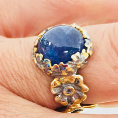 Cabochon sapphire in vermeil and silver flower- inspired ring