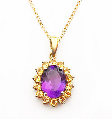 Gold Amethyst and Citrine Pendant at Rubini Jewelers